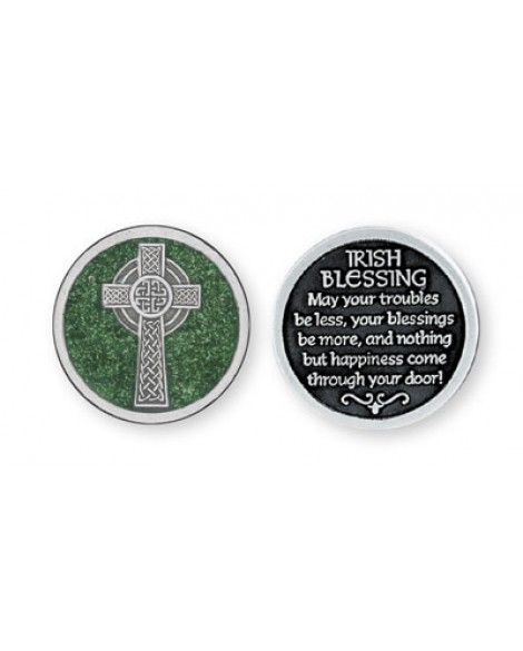 St Patrick's Day  Irish Blessing Pocket Token Green Glitter