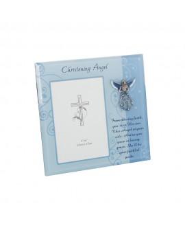 Christening Frame Angel Blue 4x6