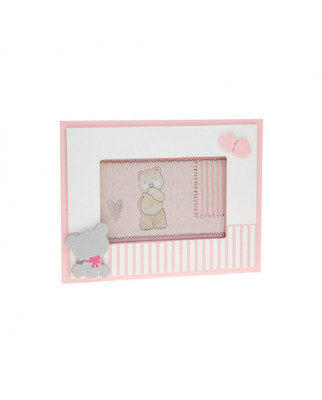 Baby Girl Photo Frame Tiny Ted Spot Frame Pink 6x4