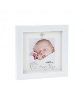 Christening Modern White Photo Frame