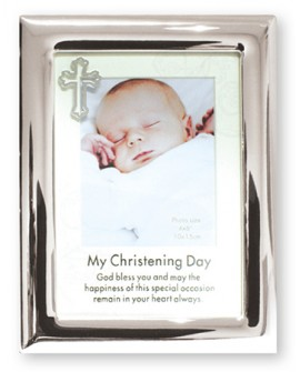 CHRISTENING BAPTISM PHOTO FRAME METAL BOY GIRL