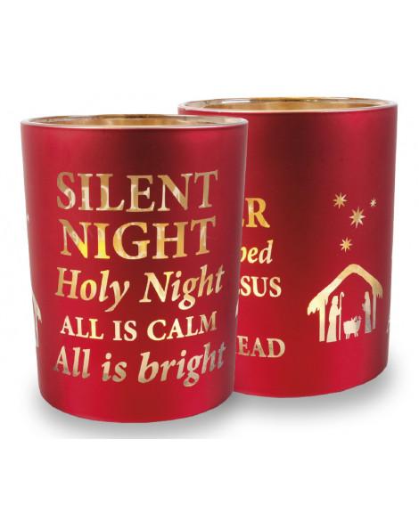 CHRISTMAS CANDLE HOLDER RED SILENT NIGHT MEDIUM