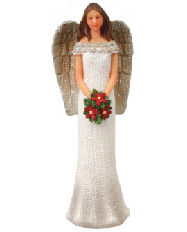 Christmas Angel With Christmas Flowers