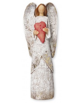 Angel Silver Red Heart Shabby Chic