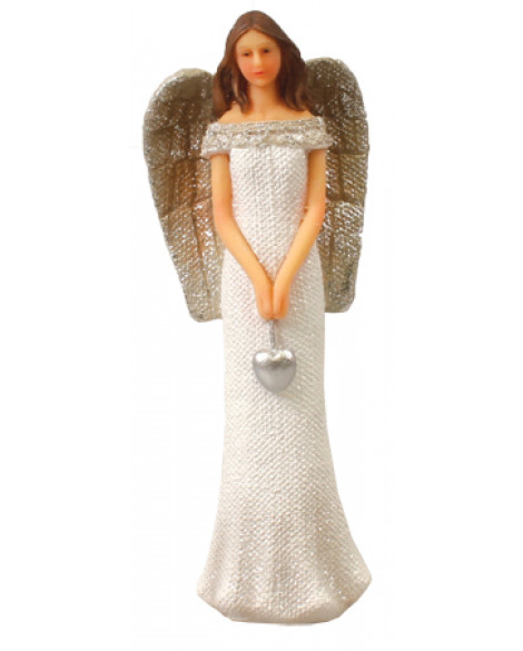 Angel Decoration Glitter Figurine With Silver Heart