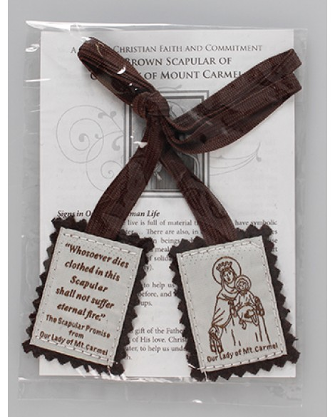 Brown Wool Scapular with Leaflet