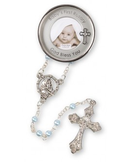 CHRISTENING KEEPSAKE SILVER PLATED PHOTO BOY  WITH ROSARY BEADS
