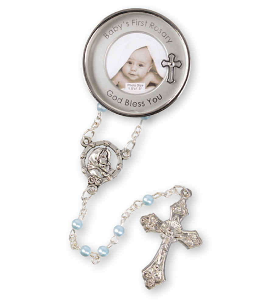 CHRISTENING KEEPSAKE ROSARY SILVER PLATED PHOTO BOY