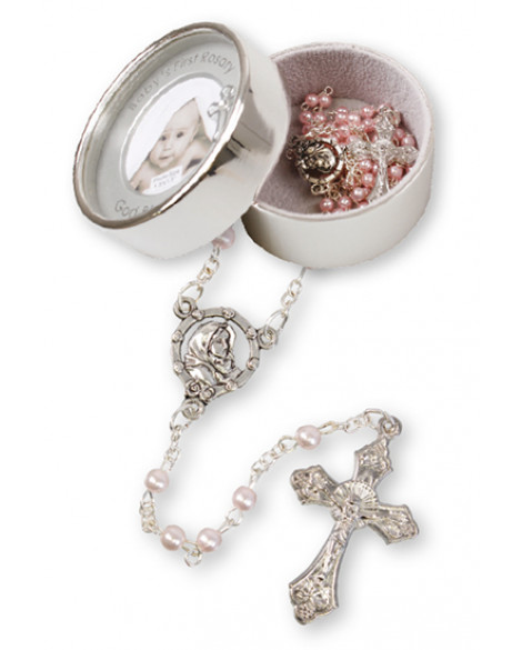 CHRISTENING KEEPSAKE SILVER PLATED PHOTO GIRL WITH ROSARY BEADS
