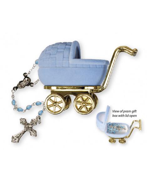 Christening Baptism Baby Boy Rosary blue
