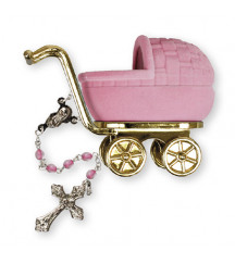 CHRISTENING BAPTISM ROSARY PINK