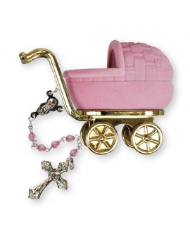 Christening Baptism Baby Girl Rosary Pink