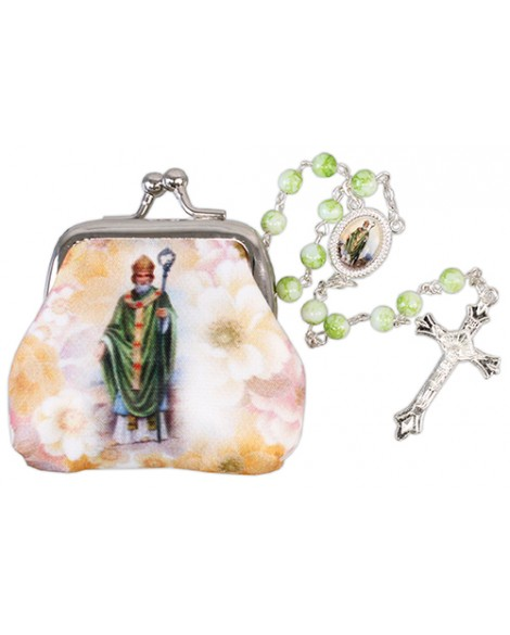 St Patrick's Day Rosary Beads & Purse