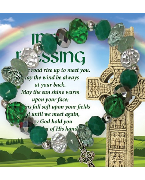St Patrick's Day Bracelet Irish Blessing Dark Green
