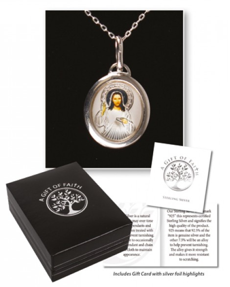 STERLING SILVER DIVINE MERCY NECKLACE
