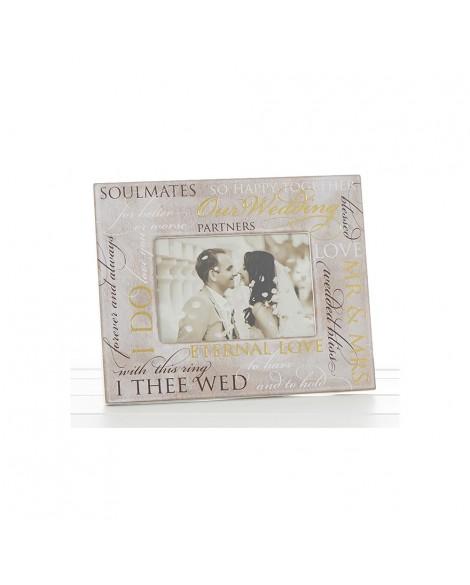 Wooden Script Wedding 6 x 4 inch Photo Frame