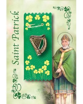 St Patrick's Day Badge Celtic Harp on Green & Gold Ribbon