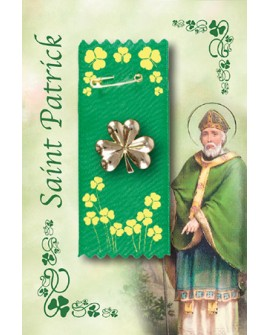 St Patrick's Day Badge Shamrock on Green & Gold Ribbon