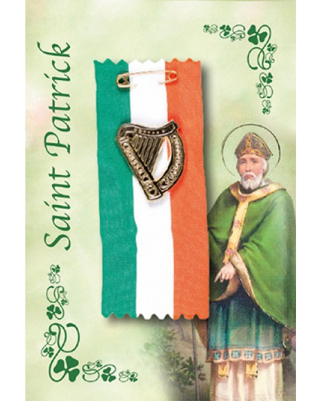 St Patrick's Day Badge Harp on a Tricoloured Ribbon