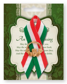 St Patrick's Day Pin Claddagh in a Tricoloured Ribbon