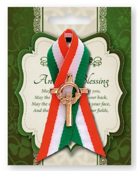 St Patrick's Day Pin Claddagh Cross in a Tricoloured Ribbon
