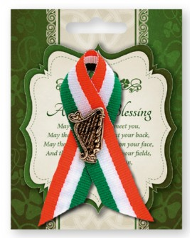 St Patrick's Day Pin Celtic Harp in a Tricoloured Ribbon