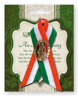 St Patrick's Day Pin St Patrick in a Tricoloured Ribbon
