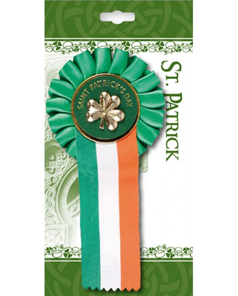 St Patrick's Day Rosette Shamrock on a Tricoloured Ribbon