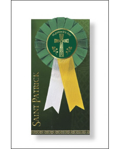 St Patrick's Day Rosette Celtic Cross on a Ribbon