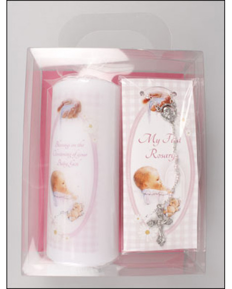 CHRISTENING BAPTISM CANDLE SET - CANDLE + PEARL ROSARY PINK