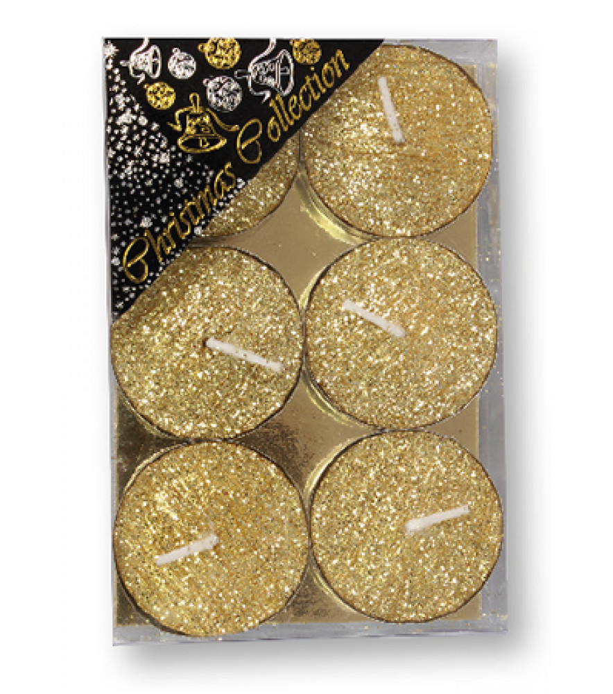 CHRISTMAS SPARKLING TEA LIGHT CANDLE GOLD GLITTER