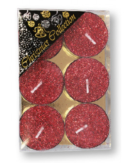 CHRISTMAS SPARKLING TEA LIGHTS CANDLE RED GLITTER