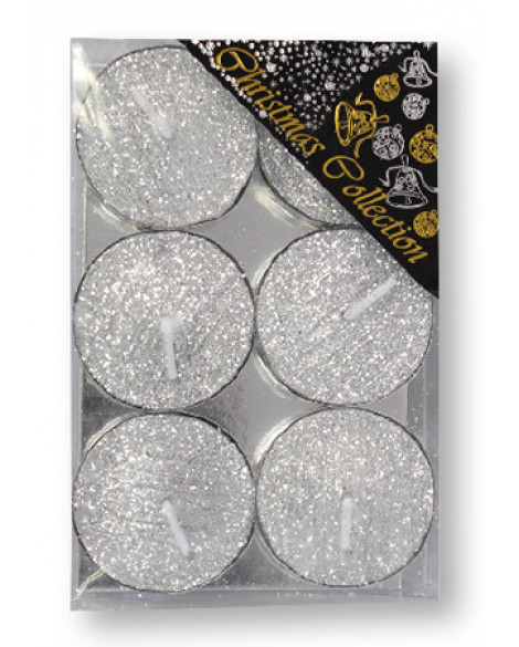 CHRISTMAS SPARKLING TEA LIGHTS CANDLE SILVER GLITTER