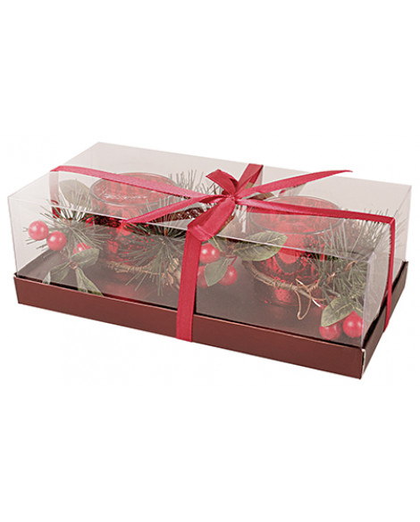 Christmas Sparkling Double Candle Holder & Tea Light Candle Set