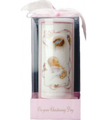CHRISTENING BAPTISM CANDLE PINK
