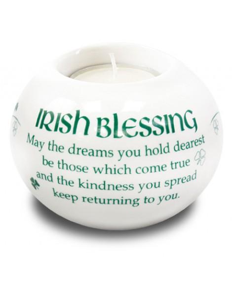 St Patrick's Day  Tea Light Candle Holder White Porcelain