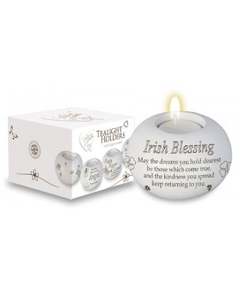 St Patrick's Day  Tea Light Candle Holder White