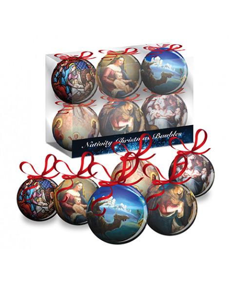 CHRISTMAS TREE BAUBLES DECORATIONS SET OF 6 MEDIUM