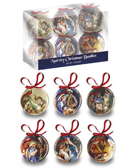 CHRISTMAS TREE BAUBLES DECORATIONS SET OF 6