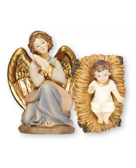 CHRISTMAS NATIVITY SCENE JESUS IN A MANGER & ANGEL SET MEDIUM