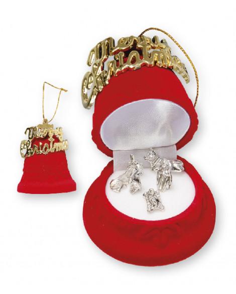 Christmas Nativity Set In a Luxury Red Velvet Box Church Bell Shape