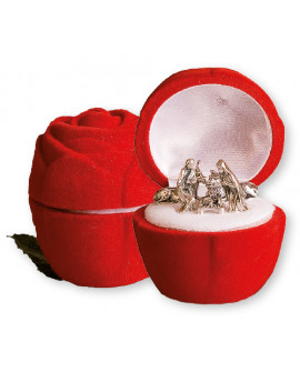 CHRISTMAS NATIVITY SET IN A LUXURY RED VELVET BOX ROSE SHAPE