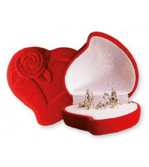 CHRISTMAS NATIVITY IN A LUXURY RED VELVET BOX HEART SHAPE