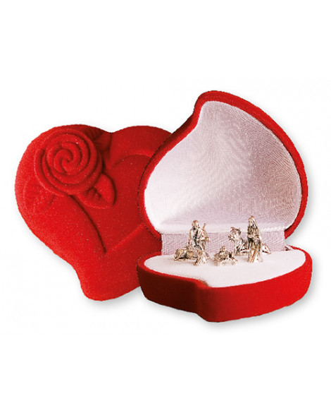 Christmas Nativity Set In a Luxury Red Velvet Box Heart Shape