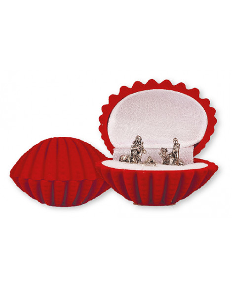 Christmas Nativity Set In a Luxury Red Velvet Box Shell Shape