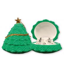 CHRISTMAS NATIVITY SET IN A LUXURY GREEN VELVET