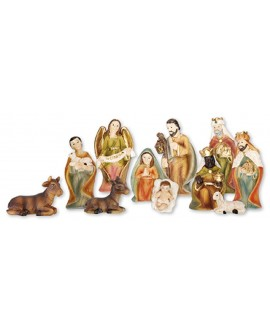 Christmas Nativity Set 11 Figures Gold Highlights