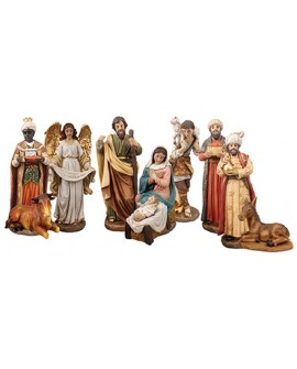 CHRISTMAS NATIVITY SET 10 FIGURES GOLD HIGHLIGHTS