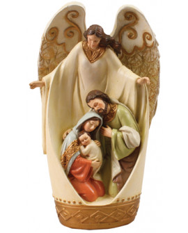 CHRISTMAS NATIVITY SCENE IN AN ANGEL GOLD HIGHLIGHTS