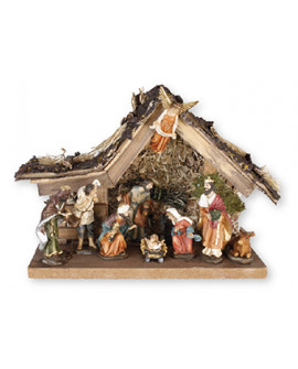 CHRISTMAS NATIVITY SET & WOOD SHED 10 FIGURES